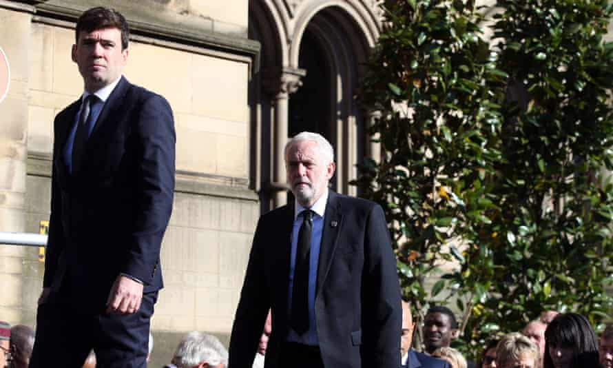 Labour leader Jeremy Corbyn (right), with the mayor of Manchester, Andy Burnham