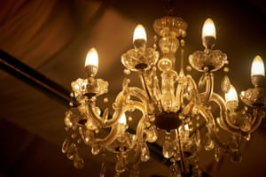 Close up picture of old chandelier in ceiling
