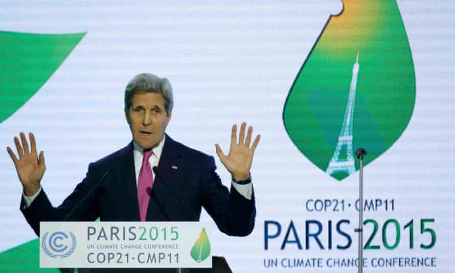 US secretary of state John Kerry delivers a speech at the World Climate Change Conference 2015, in Paris.