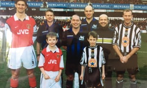 Eight-year-old Graham Searles takes his place as Arsenal's mascot for their visit to Newcastle in February 1999. The game ended 1-1.