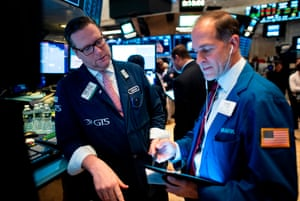 Traders work after the opening bell at the New York Stock Exchange (NYSE) on October 28, 2019 in New York City.