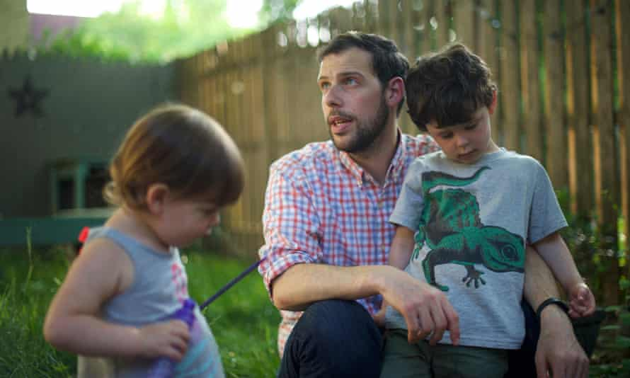 Tony Spagnoli, 33, with his two children, Leila, 2, and Julian, 4. Spagnoli is a Philadelphia resident who is beginning a citizen-led effort to get lead-in-water tests for other Philadelphia families.