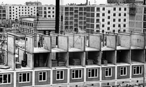 An apartment building in Moscow are constructed in 1961 using pre-fabricated panels