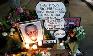 Flowers and mementos on the star of late Marvel Comics co-creator Stan Lee on the Hollywood Walk of Fame.