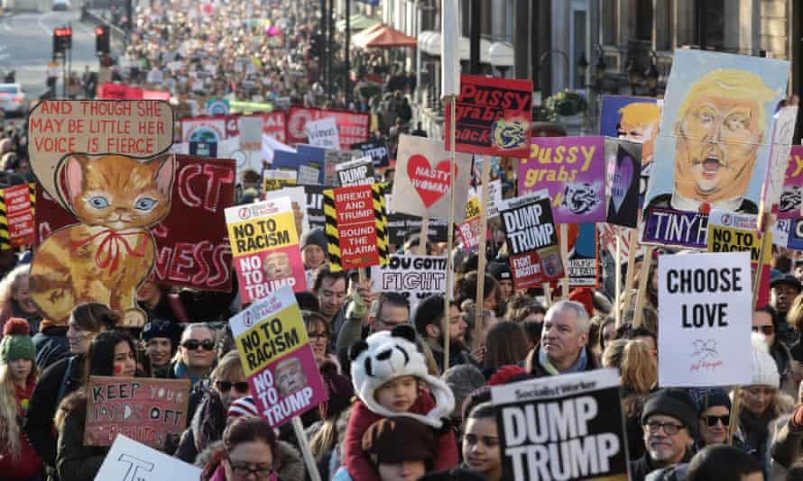 Array of banners in the London Women's March