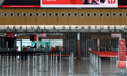 An empty arrivals and departures security point is seen at the Qantas terminal at Sydney Airport, Thursday, June 25, 2020.