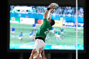 Ireland's flanker Peter O'Mahony catches the ball in a line out.