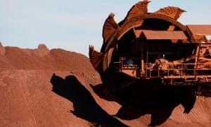 A bucket wheel reclaimer at BHP's iron ore loading facility in Port Hedland