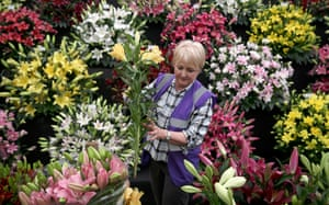 Lillies being arranged on one of the stands