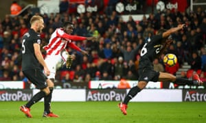 Mame Biram Diouf scores Stoke's second goal at the bet365 Stadium.
