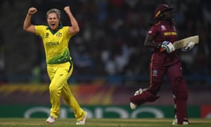 Delissa Kimmince of Australia celebrates after dismissing Stafanie Taylor – the West Indies captain was the only home player to reach double figures.