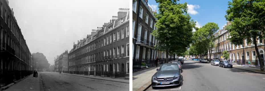 Doughty Street, London, where Charles Dickens lived while writing Oliver Twist; and Doughty Street today.
