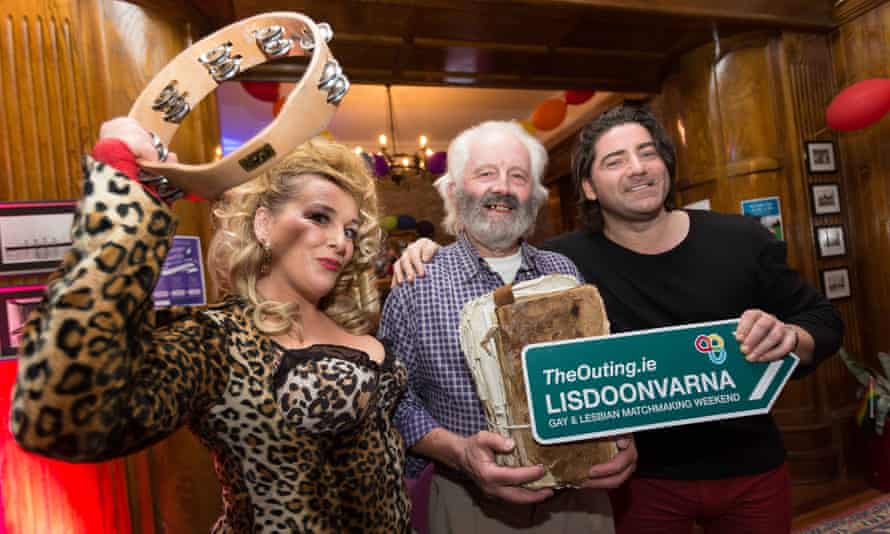 Comedian Katherine Lynch and Singer Brian Kennedy with matchmaker Willie Daly