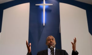 Republican Presidential Candidate Ben Carson Speaks At Sunday Church Service In Iowa<br>DES MOINES, IA - AUGUST 16: Republican presidential hopeful Ben Carson (C) speaks during church services at Maple Street Missionary Baptist Church on August 16, 2015 in Des Moines , Iowa. Ben Carson attended Sunday church services before campaigning at the Iowa State Fair. (Photo by Justin Sullivan/Getty Images)