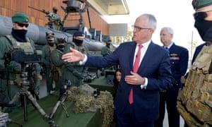 Australian Prime Minister Malcolm Turnbull visits the Holsworthy Barracks in Sydney