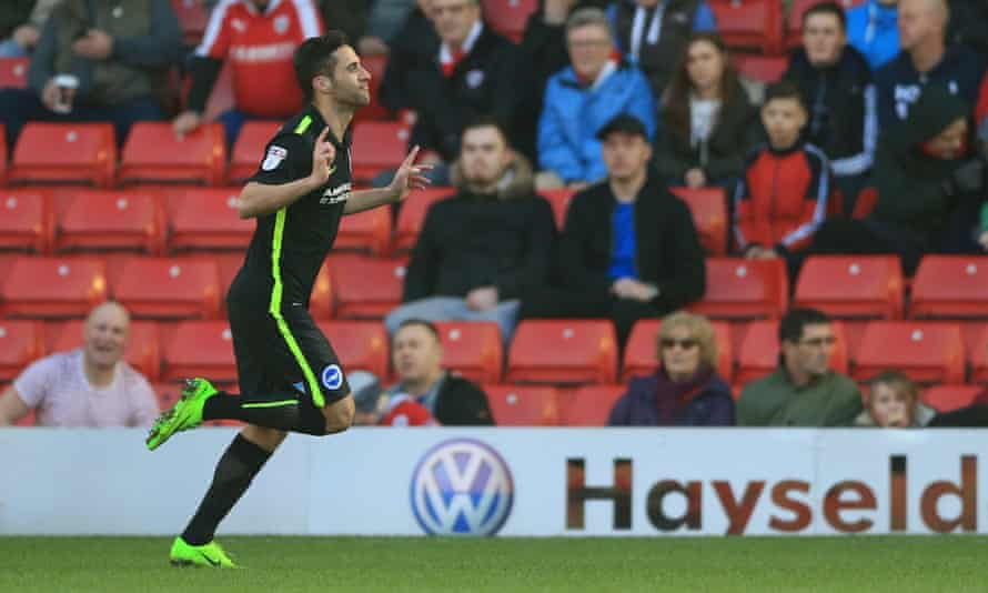 Brighton & Hove Albion's Sam Baldock celebrates scoring the first of his two goals in his team's 2-0 victory over Barnsley at Oakwell.