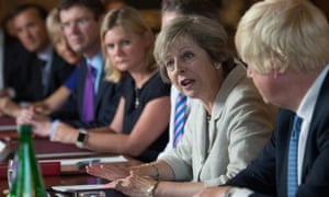 Theresa May chairing a cabinet meeting.