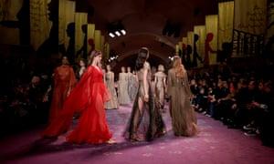 Models parade on catwalk