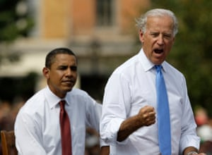 Biden with Obama at a presidential rally in August 2008.