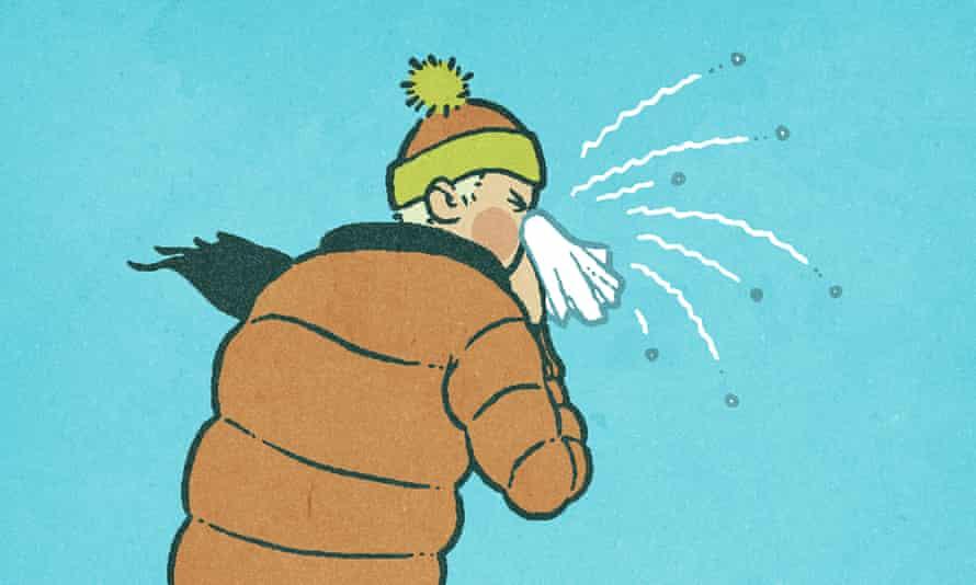 Illustration of man sneezing