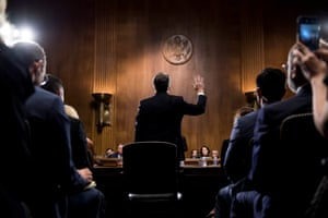 Judge Brett Kavanaugh is sworn in before testifying before the US Senate Judiciary Committee