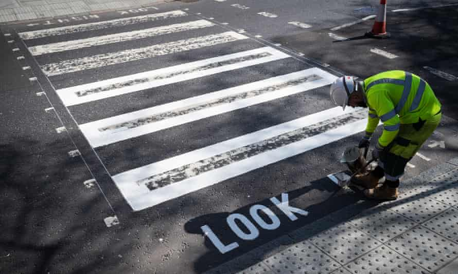 Repainting the famous crossing.