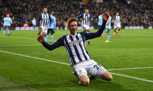 Sam Field celebrates after putting West Brom 2-0 up early in the second half.
