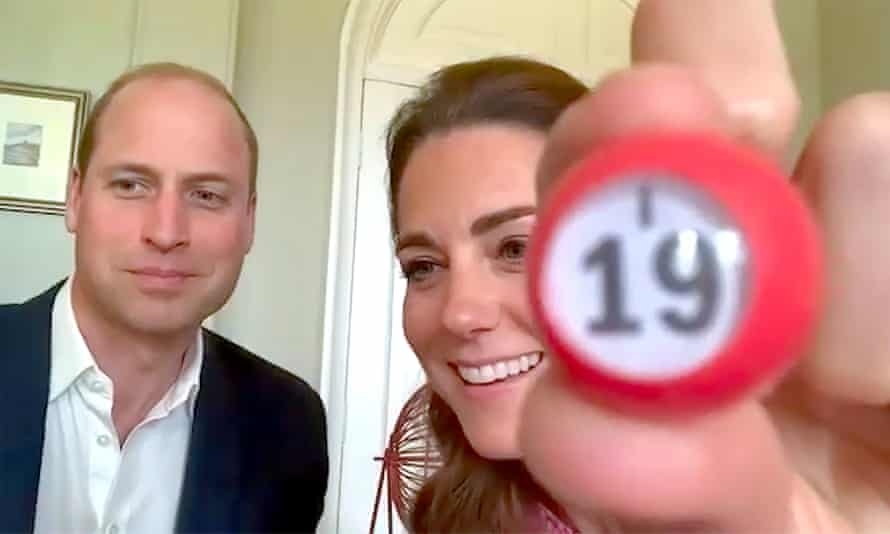Prince William and Kate play virtual bingo with care home residents.