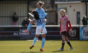 Manchester City's Jane Ross celebrates scoring in the 90th minute to make it 2-2 during during the Women's FA Cup quarter-final against Sunderland.
