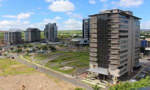 The centre of Cybercity in Ebène, Mauritius