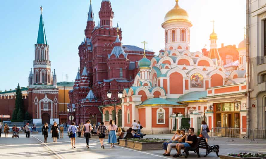 Daytime view of visitors to Moscow's Red Square.