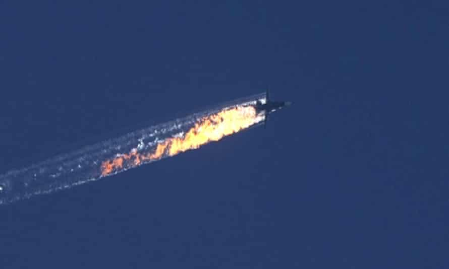 Screengrab of Russian fighter jet shot down over Syrian-Turkish border