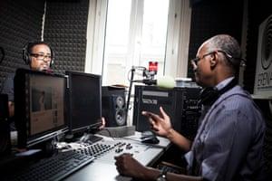 Biniam Simon (left) and Fathi Osman of Radio Erena