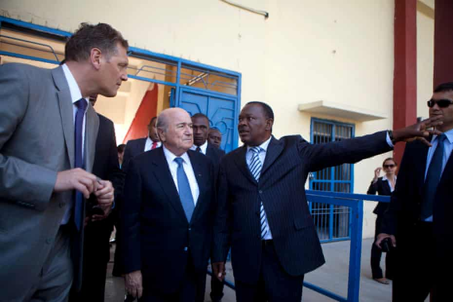 Jean-Bart in April 2013 with then Fifa president Sepp Blatter and Fifa secretary general Jerome Valcke, left, at the national stadium in Port-au-Prince, Haiti.