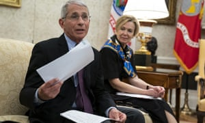 White House coronavirus task force leaders Anthony Fauci (L) and Deborah Birx in the Oval Office yesterday.