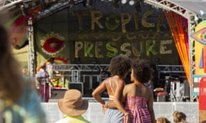 Crowd members in front of the stage at Tropical Pressure, Cornwall.