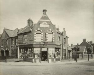 """Off-License"" corner of Carr and Brettenham Roads, c. 1903"