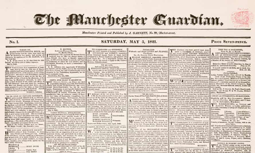 The masthead of the first edition of the Manchester Guardian on 5 May 1821.