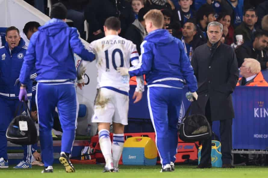 Eden Hazard trudges off past José Mourinho