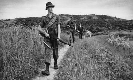 Scots Guards on patrol in Malaya, 1950.