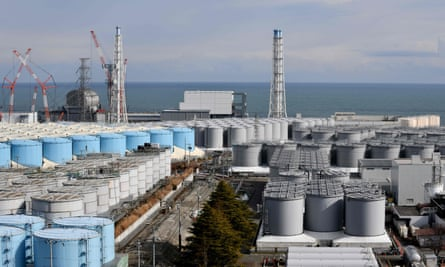 Reactor buildings and storage tanks for contaminated water at the Tokyo Electric Power Company's (TEPCO) Fukushima Daiichi nuclear power plant