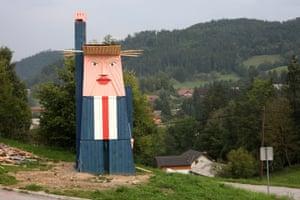 A lookalike statue of Donald Trump, called Slovenian statue of liberty Selo pri Kamniku, Slovenia