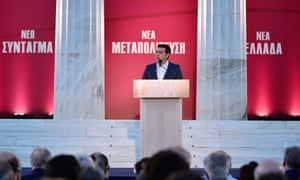 Greek Prime minister Alexis Tsipras speaks about constitution reform outside parliament this summer.