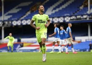 Newcastle United's Callum Wilson celebrates scoring the opening goal of the game.
