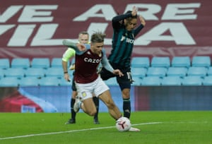 Grealish is tackled by Costa