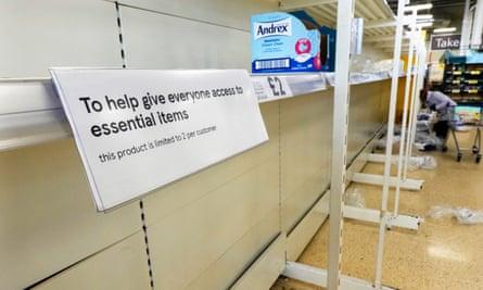 Empty loo roll shelves