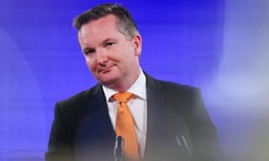 The shadow treasurer, Chris Bowen, gives his budget reply address at the National Press Club on Wednesday.