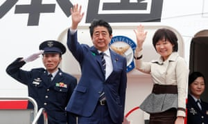 Shinzo Abe and his wife Akie Abe depart Japan for the US.