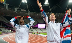 Gold medallists Mo Farah and Greg Rutherford celebrating their victories in the London 2012 Games