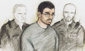 Artist's sketch of Hashem Abedi during an appearance at Westminster magistrates court in London.